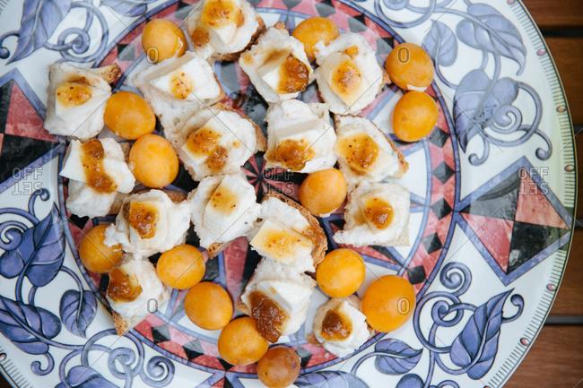 Cumquats and cheese dessert