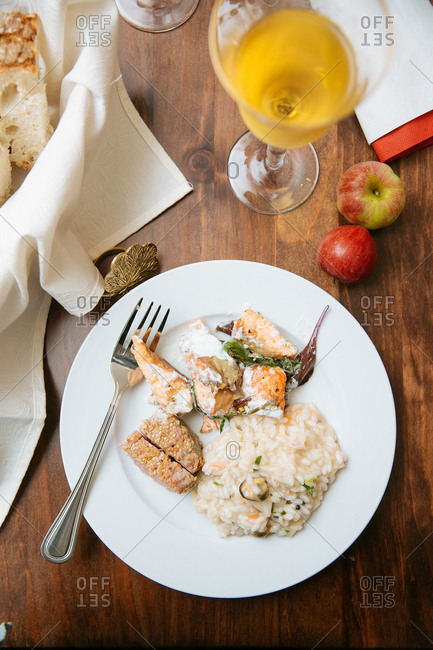 Risotto and fish dish on plate