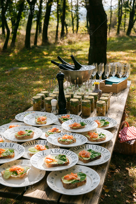 Appetizers and drinks on outdoor table