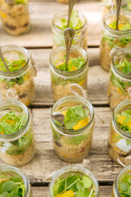 Jars with rice and veggies