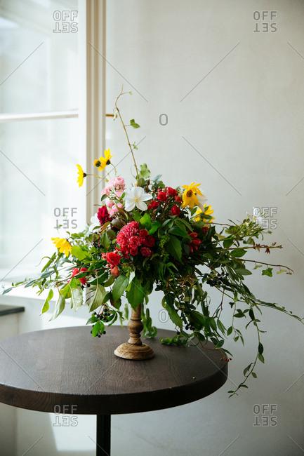 Floral arrangement on indoor table