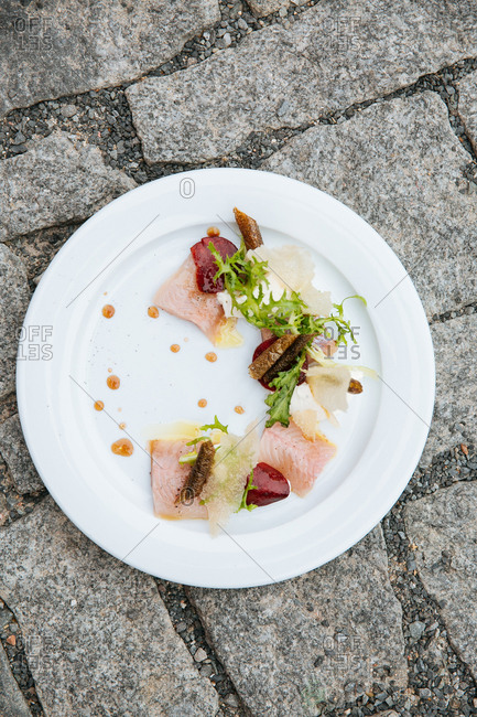 Fish pieces on plate on ground