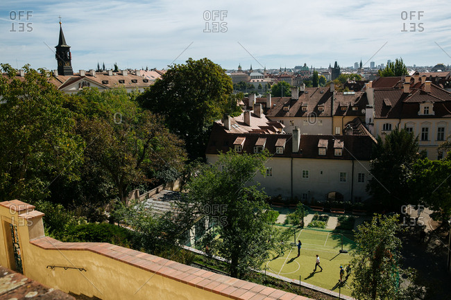 Prague, Czech Republic - February 15, 2017: View over Prague from steps