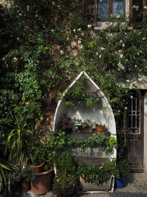 Boat made into plant stand, Stresa, Italy