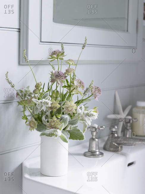 Bouquet of astrantia, lavender and lamb's ear on a bathroom sink