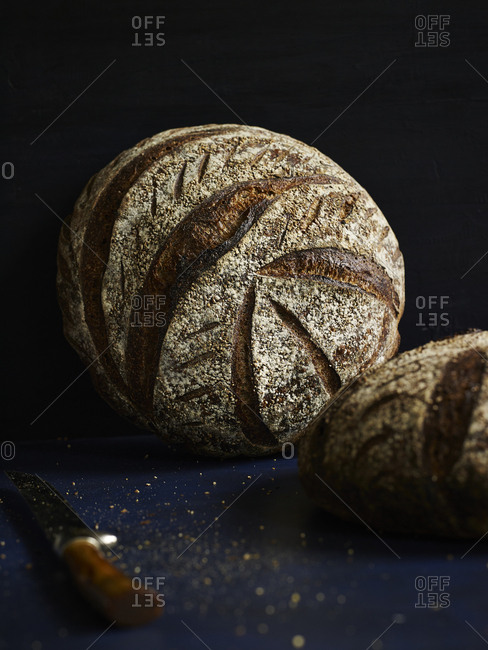Loaves of round dark bread on a blue surface