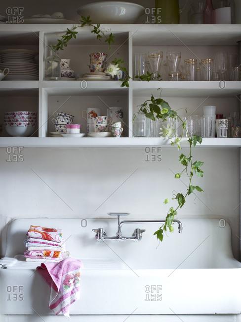 Kitchen with passion flower vine