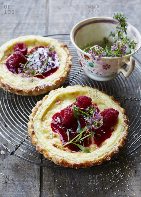 Raspberry key lime tarts