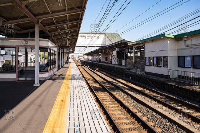Empty train station in Osaka, Japan