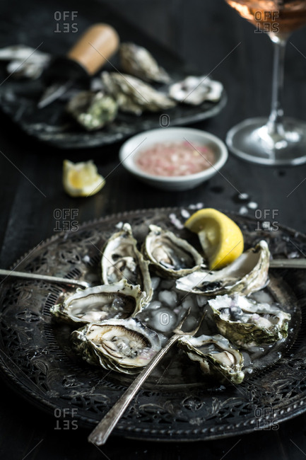 Oysters on a tray with ice