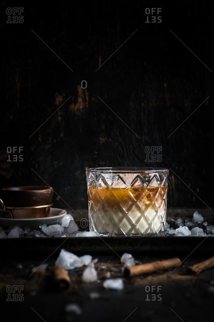 Eggnog cocktail in glass - Offset