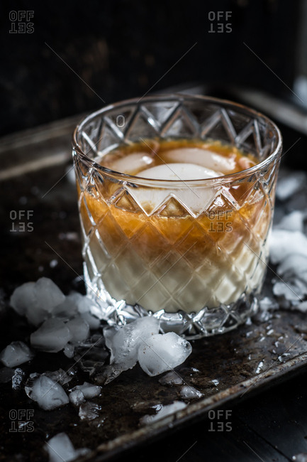 An eggnog cocktail in glass