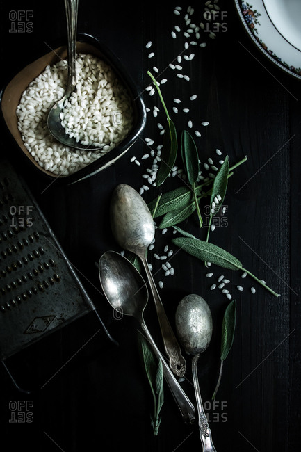 Risotto and sage leaves - Offset