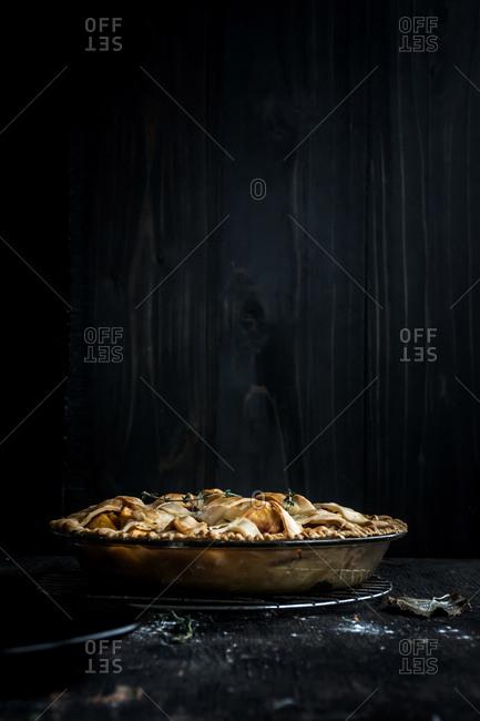 Peach pie with a lattice crust