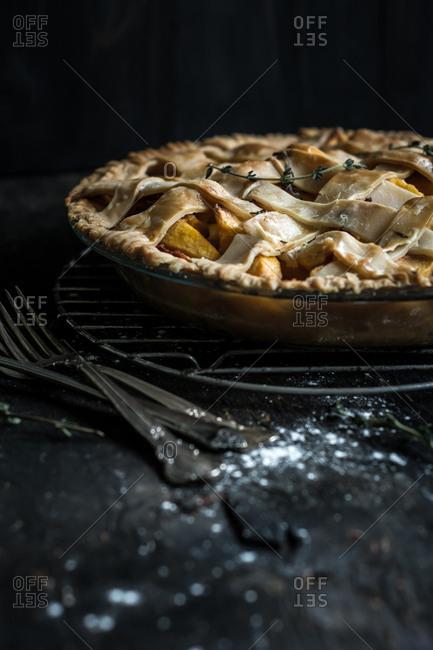 Peach pie with a lattice top