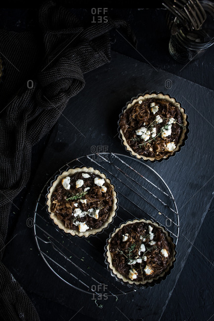 Savory tarts with vegetables