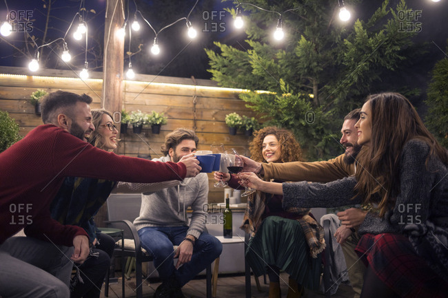 Happy friends toasting drinks in party at backyard