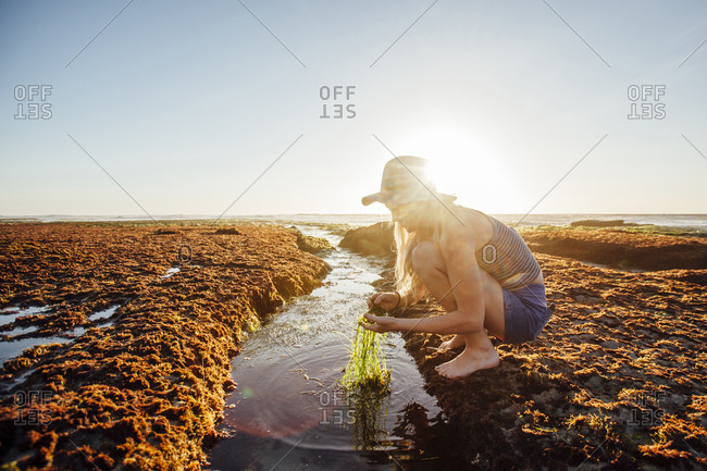 Woman holding grass while crouching at beach against clear sky