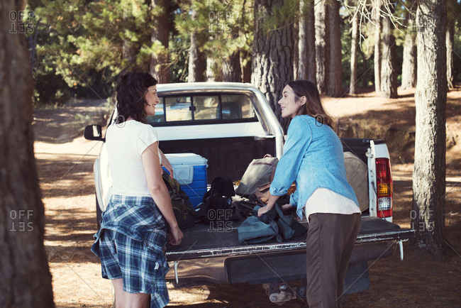 Female friends talking while standing by pick-up truck in forest