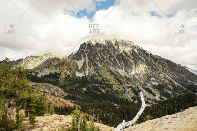Scenic view of mountain against cloudy sky at Wenatchee National Forest