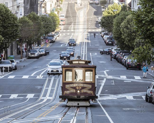 Tramway on city street at San Francisco
