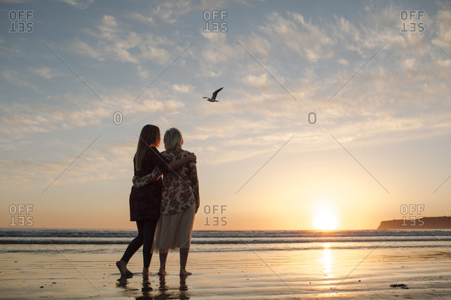 Rear view of mother and daughter looking at view while standing against sky during sunset