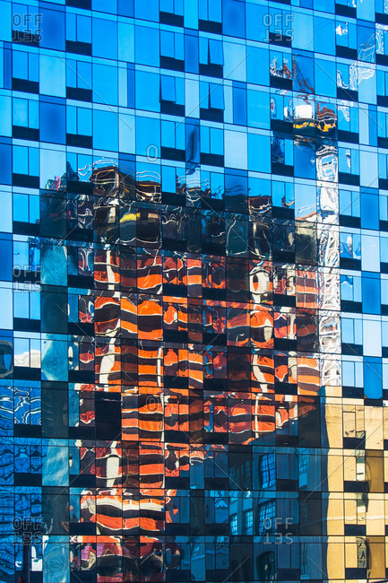 USA, New York State, New York City, Detail of glass facade with reflections