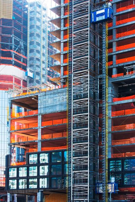 USA New York, New York City, Office buildings under construction