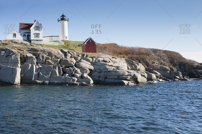 USA, Maine, York, Cape Neddick, Nubble Light lighthouse at seashore