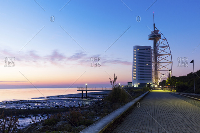 Portugal, Lisbon, Tower Vasco da Gama by Tagus River in Lisbon