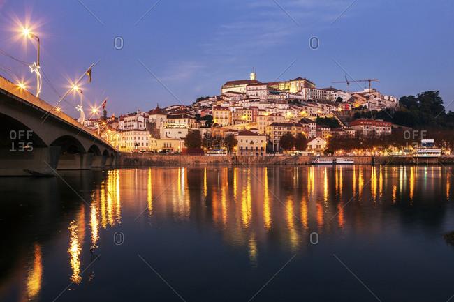 Portugal, Coimbra, Panorama of Coimbra across Mondego River