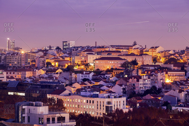Portugal, Lisbon, Panorama of city at sunrise