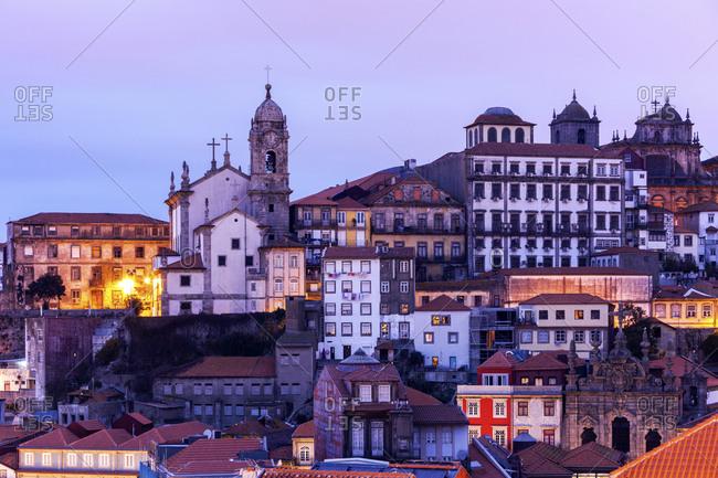 Portugal, Norte, Porto, Old Town at sunrise