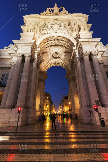 Lisbon, Portugal - December 10, 2015: Rua Augusta Arch on Plaza of Commerce