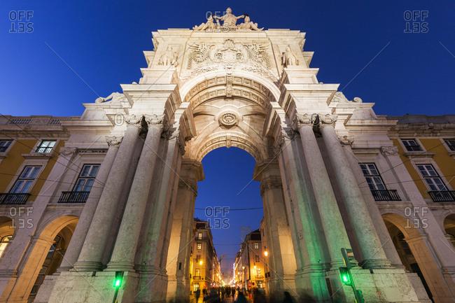 Portugal, Lisbon, Rua Augusta Arch on Plaza of Commerce