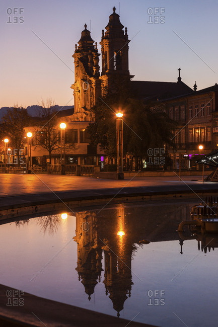 Portugal, Norte Region, Braga, Congregados Basilica in Braga at dawn