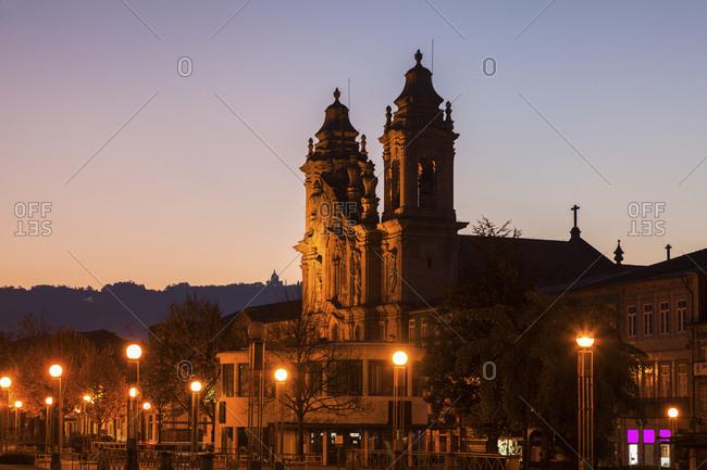 Braga, Norte Region, Portugal - December 6, 2015: Congregados Basilica in Braga at dawn