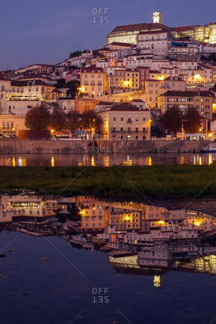 Portugal, Centro Region, Coimbra, Panorama of Coimbra across Mondego River