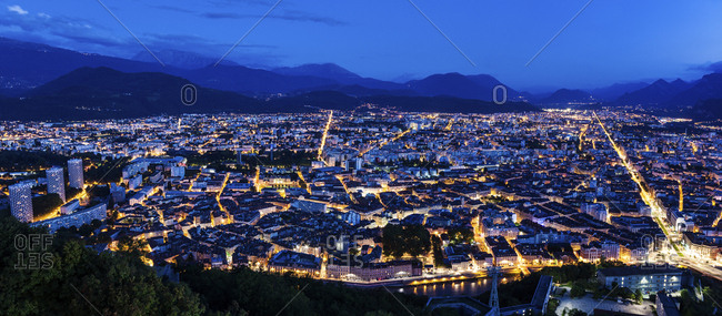 France, Auvergne-Rhone-Alpes, Grenoble, Grenoble panorama at evening