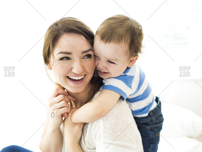 Son embracing mother