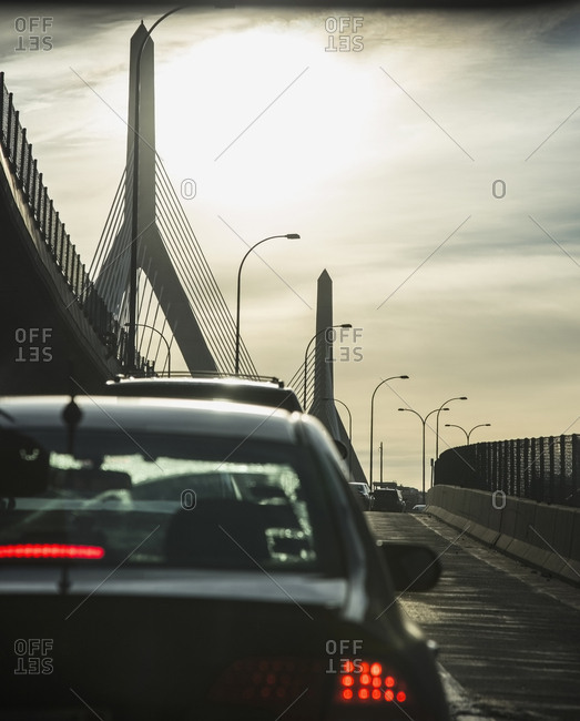 USA, Massachusetts, Boston, Traffic on ramp of Leonard P. Zakim Bridge