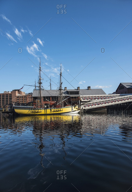 USA, Massachusetts, Boston, Tall ship in Fort Point Channel