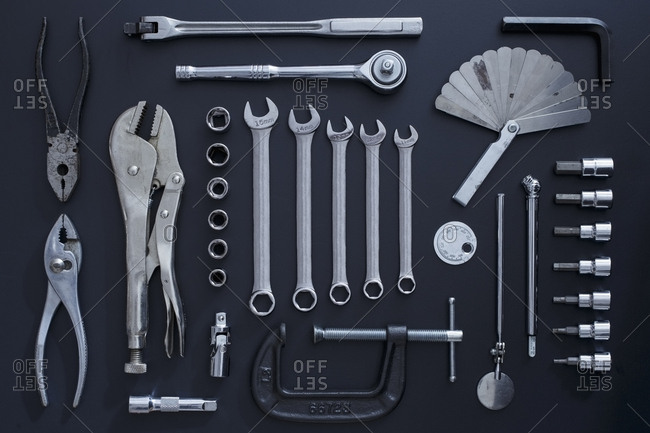 Studio shot of work tools on black background