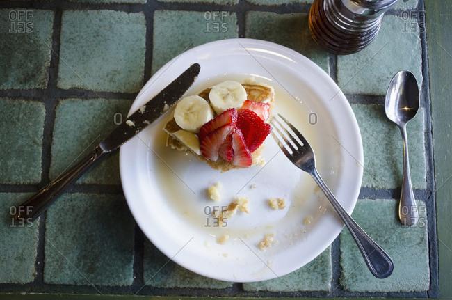 Fresh strawberry and banana pancakes