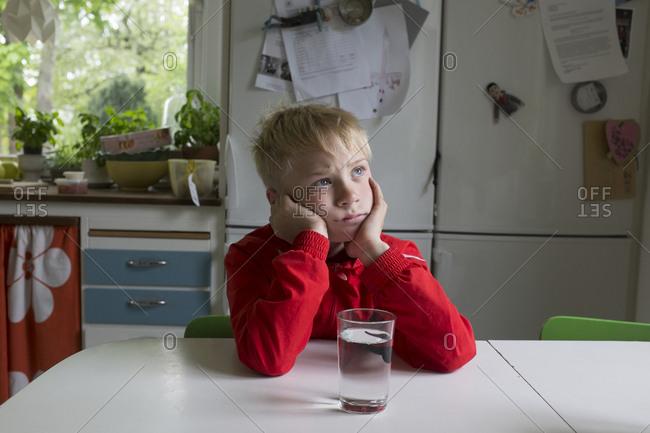 Boy sitting in kitchen