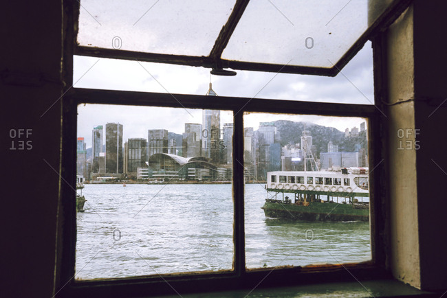 A Hong Kong panorama from the ferry boat