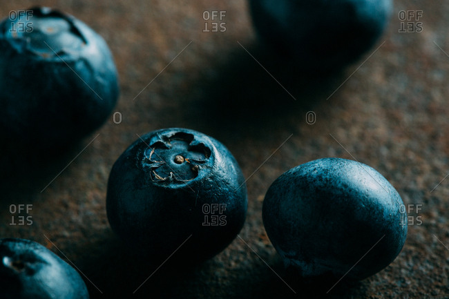 Blueberries on a grunge background