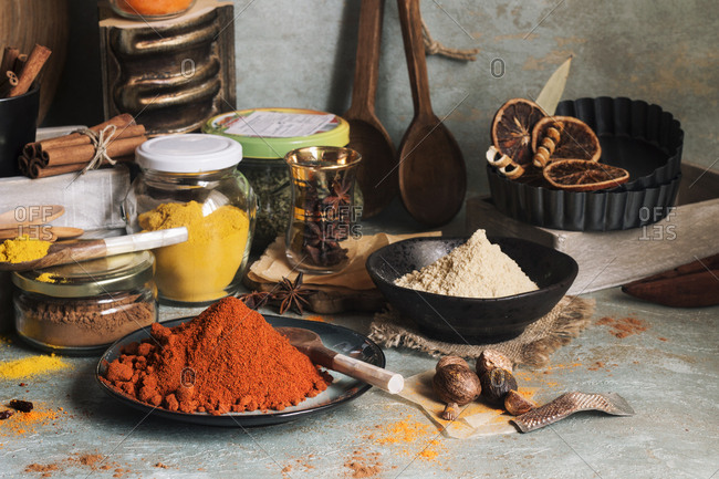 Different colorful spices for cooking
