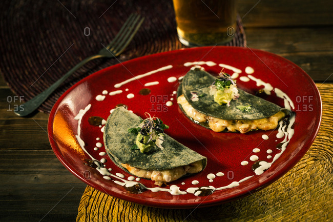 Gourmet Mexican quesadillas with blue corn,