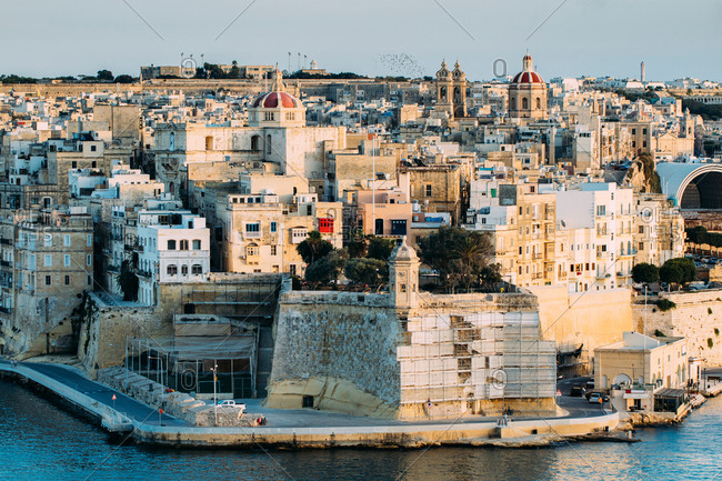 Great sunset of Senglea in Malta island,